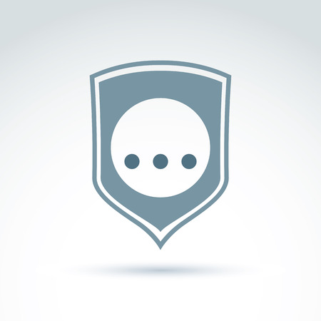 personal data: Personal data protection icon, three dots placed on a circle, gray security shield. Illustration