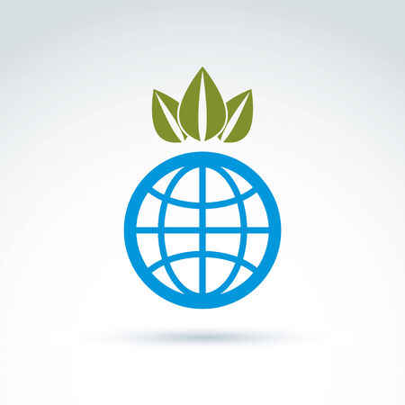 ecological environment: Globe with crown of leaves growing icon, ecological environment theme concept, vector conceptual unusual symbol for your design.