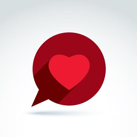 Símbolo consulta familia, burbuja del discurso con el signo de amor, icono de corazón de San Valentín. Conversación romántica, chatear en relación el tema. Ilustración de vector