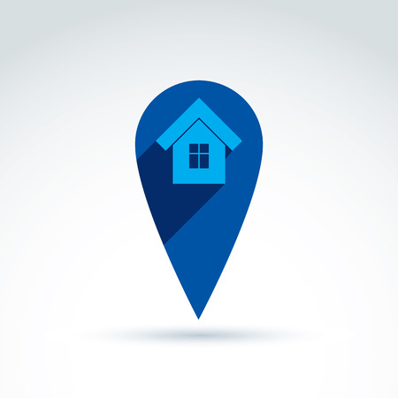Vector home illustration, real estate icon. Touristic sign, monochrome house depiction. Vector