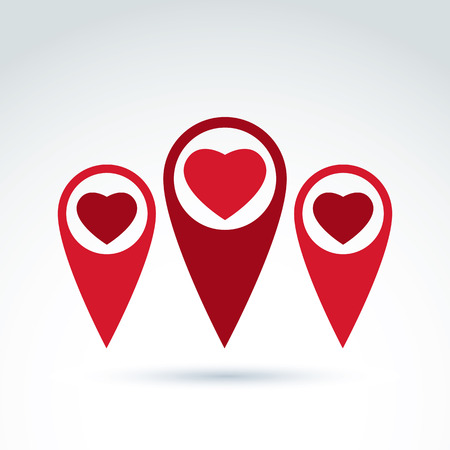 loving: Vector map pointer with a loving heart icon. Place location symbol, red Valentine heart sign. Illustration