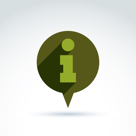 Vector speech bubble with info sign. Conceptual consultation service emblem.  Information symbol, chat icon, info help concept. Vector