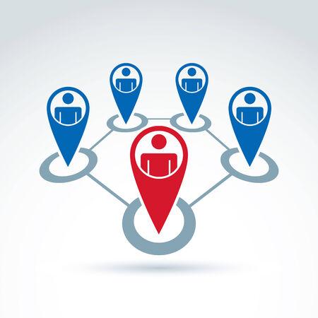 conceptual map: Ilustraci�n vectorial de redes sociales, el liderazgo conceptual y signo trabajo en equipo. Mapa s�mbolo puntero con siluetas de personas de pie en c�rculos.