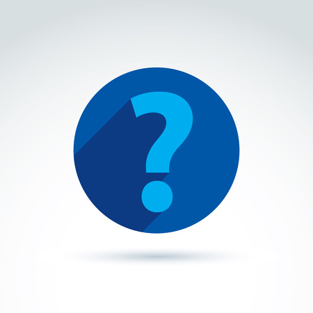 FAQ, analyze concept, ask and answer theme, interrogation. Vector discussion symbol with a question mark. Vector