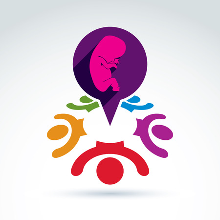 unborn: Society and organizations taking care about new born children and unborn, women health, prenatal center, vector conceptual unusual symbol for your design.