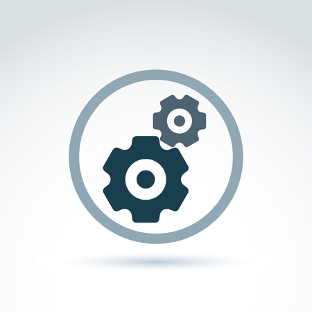 cogs: Vector illustration of an organization system, strategy concept. Cog-wheels and gears placed in a circle, service icon. Business and manufacturing process theme. Illustration