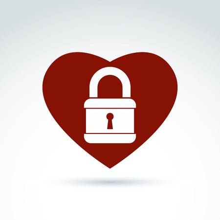 secret love: Vector red heart with a padlock isolated on white background. Love secret symbol, conceptual privacy icon.