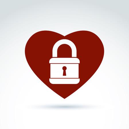 hintergrund liebe: Vector rotes Herz mit einem Vorh�ngeschloss isoliert auf wei�em Hintergrund. Liebe geheimes Symbol, konzeptionellen Privatsph�re Symbol.