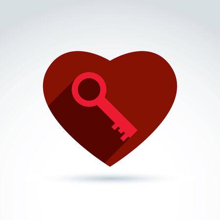 secret love: Vector coraz�n rojo con una clave aisladas sobre fondo blanco. S�mbolo del amor secreto, icono privacidad conceptual. Clave de un coraz�n amoroso.