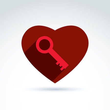secret love: Vector red heart with a key isolated on white background. Love secret symbol, conceptual privacy icon. Key from a loving heart.