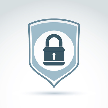 Padlock lock on a shield conceptual safety theme icon, vector conceptual stylish symbol for your design. Vector