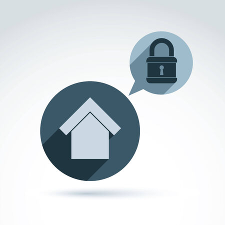 privileges: Padlock lock and and house classic icon, apartment and home security and protection theme, vector conceptual stylish symbol for your design.