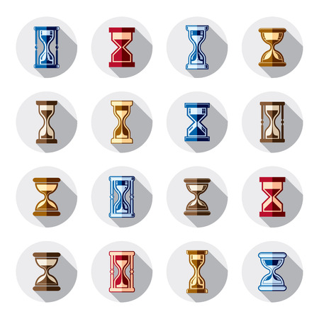 Stylized sand-glass illustrations. Set of antique classic hourglasses, clocks collection. Time idea icons isolated. Vector