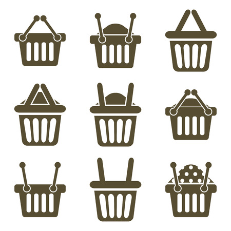 simplistic: Shopping basket icons isolated on white background vector set, supermarket shopping simplistic symbols vector collections.