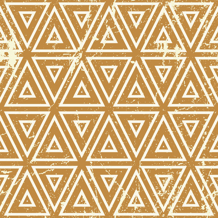 web2: Grunge geometric seamless pattern, vintage vector repeat background with aged texture.