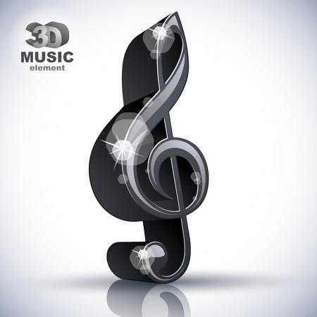 chiave di violino: Chiave di violino elemento di design 3d musica nera, illustrazione vettoriale, immagini contengono ombre trasparenti riflessi e razzi - pronto a mettere su qualsiasi sfondo.