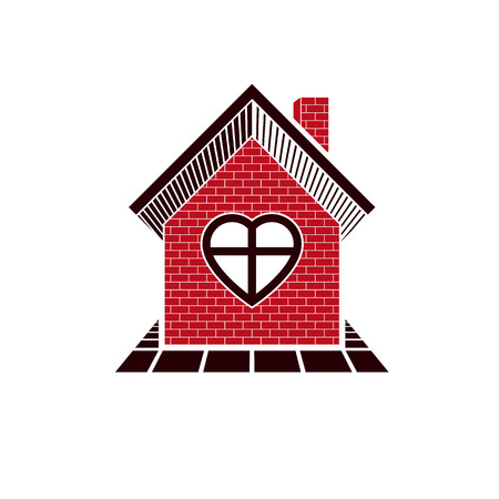 homely: Family house abstract icon, harmony at home concept. Simple building constructed with bricks, architecture theme symbol.