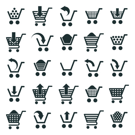 simplistic: Shopping cart icons isolated on white background vector set, supermarket shopping simplistic symbols vector collections.