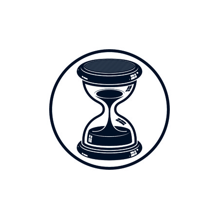 interim: Time without end conceptual icon, web design element. 3d antique hourglass isolated on white. Time management idea.