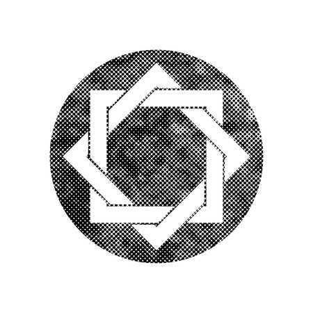Eight point star vector symbol with pixel print halftone dots texture. Illustration