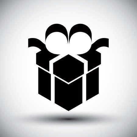 new idea: Gift box simple single color new idea vector symbol.