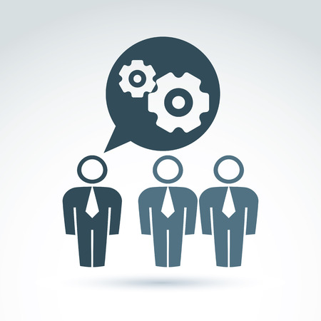 moving in: Vector illustration of gears - enterprise system theme, organization strategy concept. Cog-wheels and moving parts placed in a speech bubble – chat on business and management.