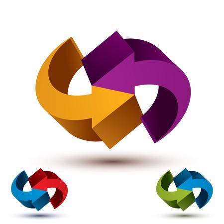 Infinite loop arrows vector abstract symbol, graphic design template 3d pictogram set. Vector