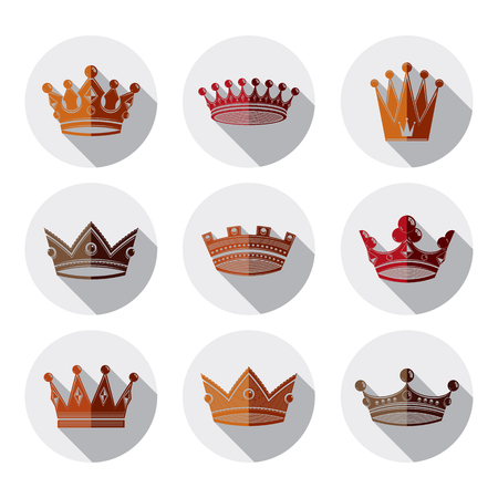 coronet: Set of 3d golden royal crowns isolated. Majestic classic symbols, coronet collection. Web and graphic elements.