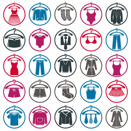 Clothing symbols, isolated vector clothing. Vector