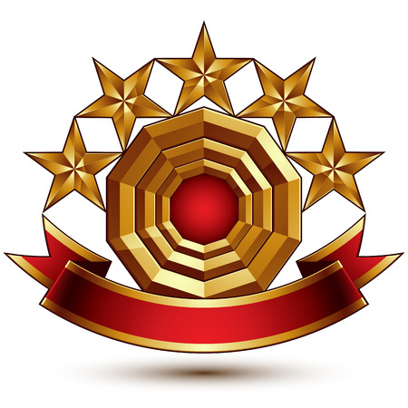 relic: 3d vector classic royal symbol with sophisticated five golden stars and red decorative wavy ribbon, glossy golden element isolated on white background. Elegant blazon.