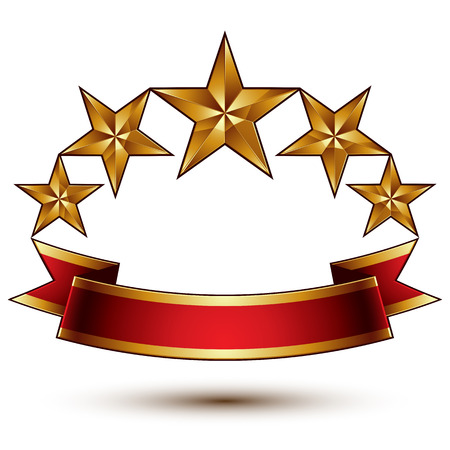 renown: Royal golden symbolic five stylized glossy stars with red curvy ribbon, best for use in web and graphic design, luxury conceptual vector icon isolated on white background.