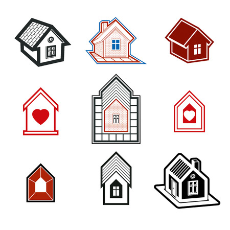 honeymoon: Simple cottages collection, real estate and construction theme. Houses  illustration with a heart symbol – Honeymoon suites, hotel rooms for newlyweds. Illustration