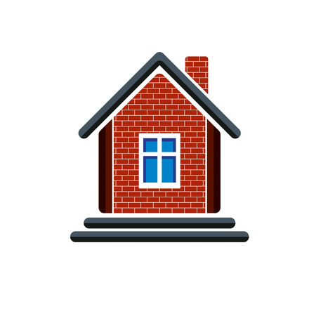 estate planning: Country house constructed with red bricks, real estate. Creative home symbol, can be used in advertising and home insurance business. Illustration