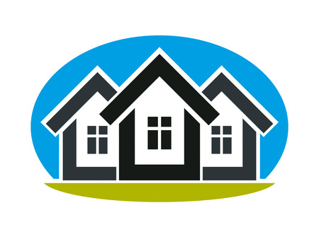 homely: District conceptual illustration  - three simple houses. Houses art picture, real estate theme. Abstract image, best for use in advertising, estate and construction business. Illustration