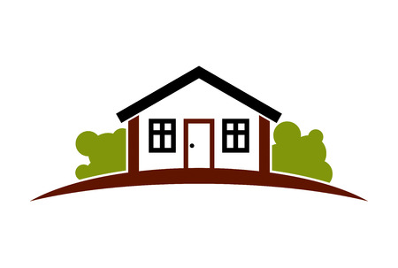 simple house: Abstract simple house with horizon line. Best for use in graphic design as a corporate symbol. Countryside idea, beautiful village landscape.