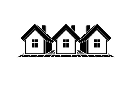 corporate image: Simple monochrome cottages illustration, black and white country houses, for use in graphic design. Real estate concept, region or district theme. Property developer abstract corporate image.