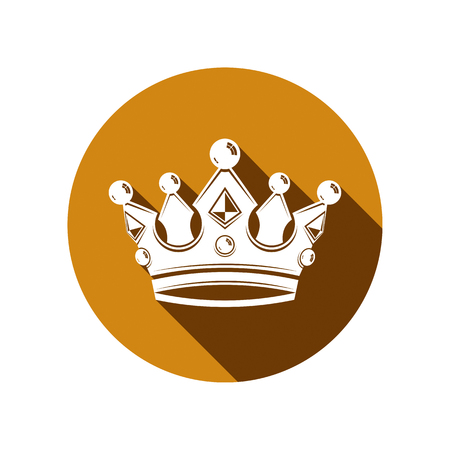 coronet: Royal design element, regal icon. Stylish majestic 3d crown, luxury coronet illustration. Imperial three-dimensional symbol. Illustration