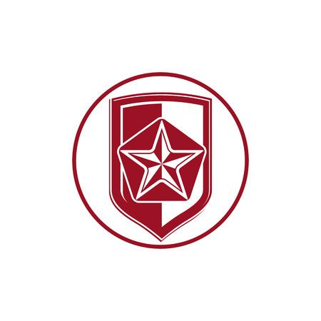escudo militar: Escudo militar con la estrella cometa pentagonal, protecci�n her�ldico blas�n sheriff. S�mbolo del ej�rcito, insignia de sheriff.