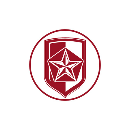 sheriff badge: Military shield with pentagonal comet star, protection heraldic sheriff blazon. Army symbol, sheriff badge.