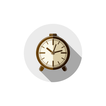 interim: Wake up idea illustration. Classic three-dimensional alarm-clock isolated on white. Table clock.