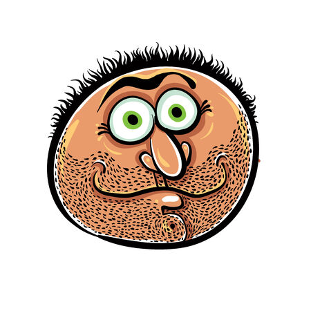 disorientated: Funny cartoon face with stubble, vector illustration. Illustration
