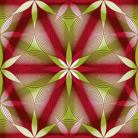 mirage: Seamless vintage floral background, geometric lined seamless pattern, vector illustration. Illustration