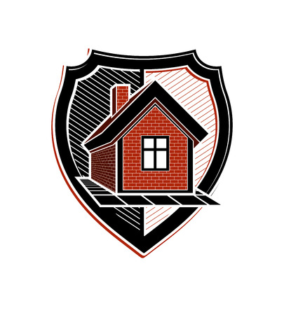 heraldic symbol: Safety idea, abstract heraldic symbol with a classic house. Real estate brand design element, conceptual coat of arms.