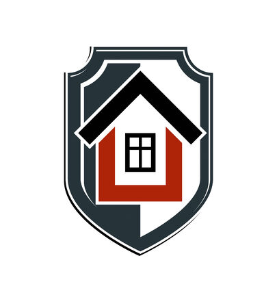 blazonry: Safety idea, abstract heraldic symbol with a classic house. Real estate brand design element, conceptual coat of arms.