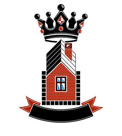 heraldic design: Imperial coat of arms, royal house conceptual symbol. Protection shield with 3d king crown. Majestic heraldic design element.