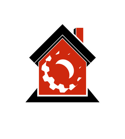 wheel house: Manufactory conceptual symbol – a house with 3d cog wheel. Industry and production theme element, for use in web design.