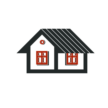 mansion: Simple mansion icon isolated on white background, abstract house depiction. Country house, conceptual sign best for use in graphic and web design.
