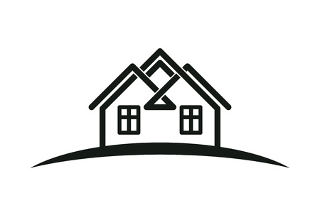 homely: Abstract houses with horizon line. Can be used in advertising and branding as a corporate symbol. Real estate business theme. Illustration