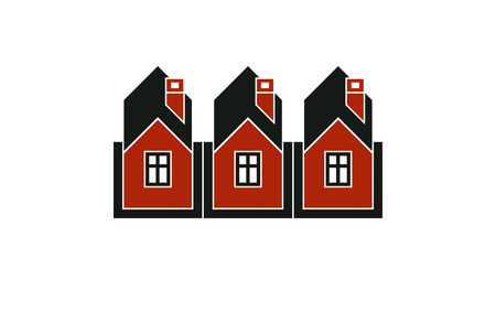 homely: Simple cottages illustration, country houses, for use in graphic design. Real estate concept, region or district theme. Building company abstract corporate image.