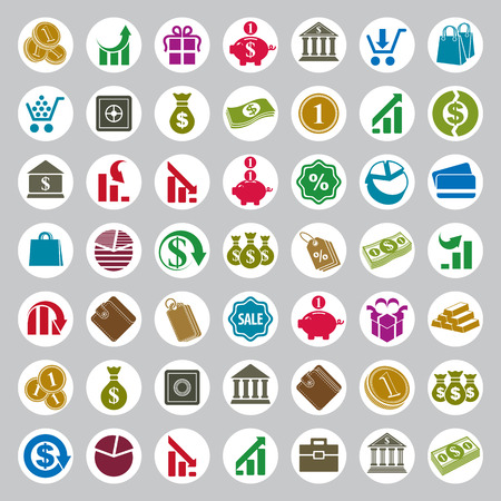 stylized banking: Money icons vector set, finance theme simplistic symbols vector collections.